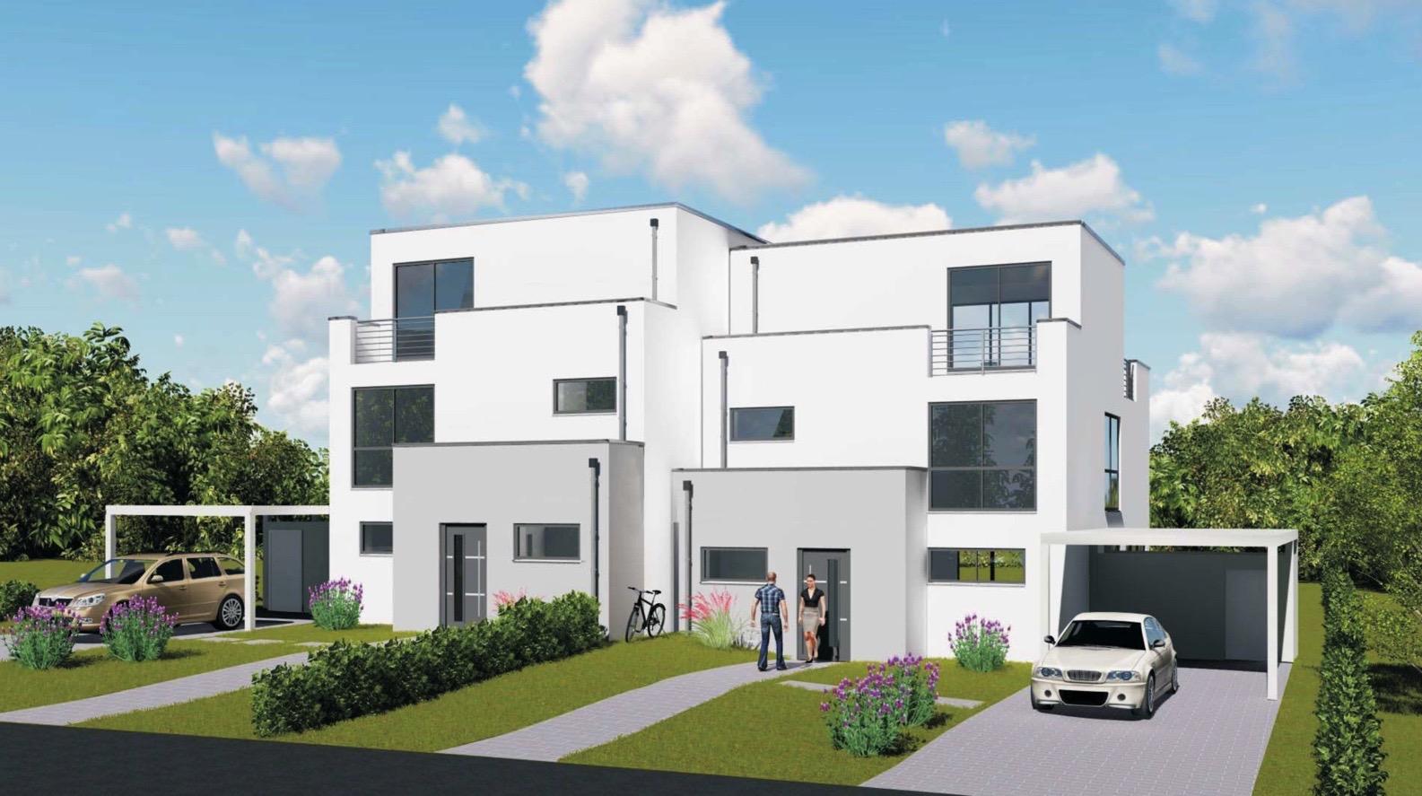 Haus grundstück 2 neubau moderne einfamilienhäuser